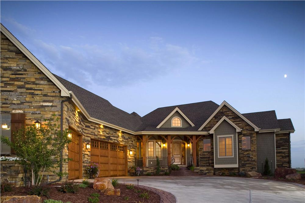 Stone siding on Craftsman style house plan #161-1042