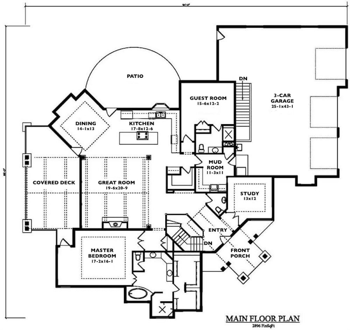 Main level floor plan for rustic Mountain style plan #161-1049 showing mud room