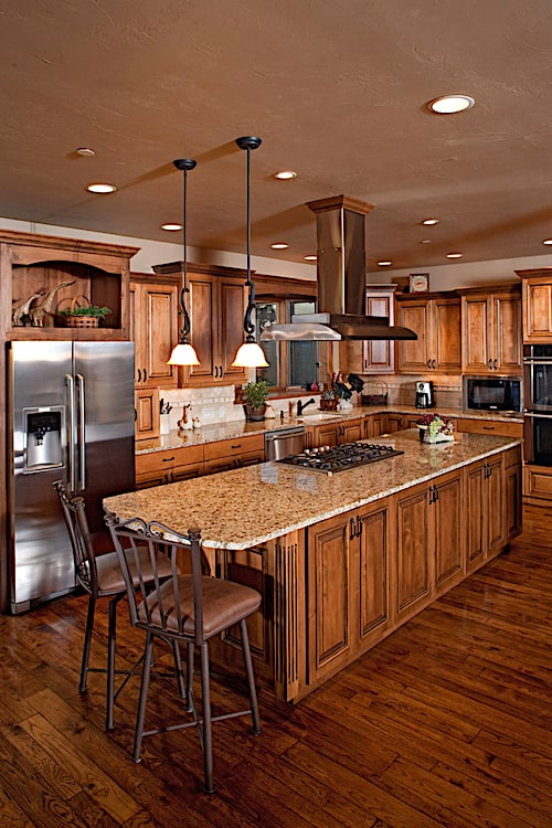 Nutmeg kitchen cabinets in luxury home