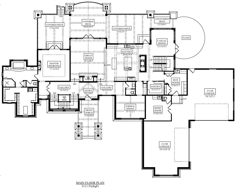 Main level home floor plan of Plan #161-1076 showing main floor master suite