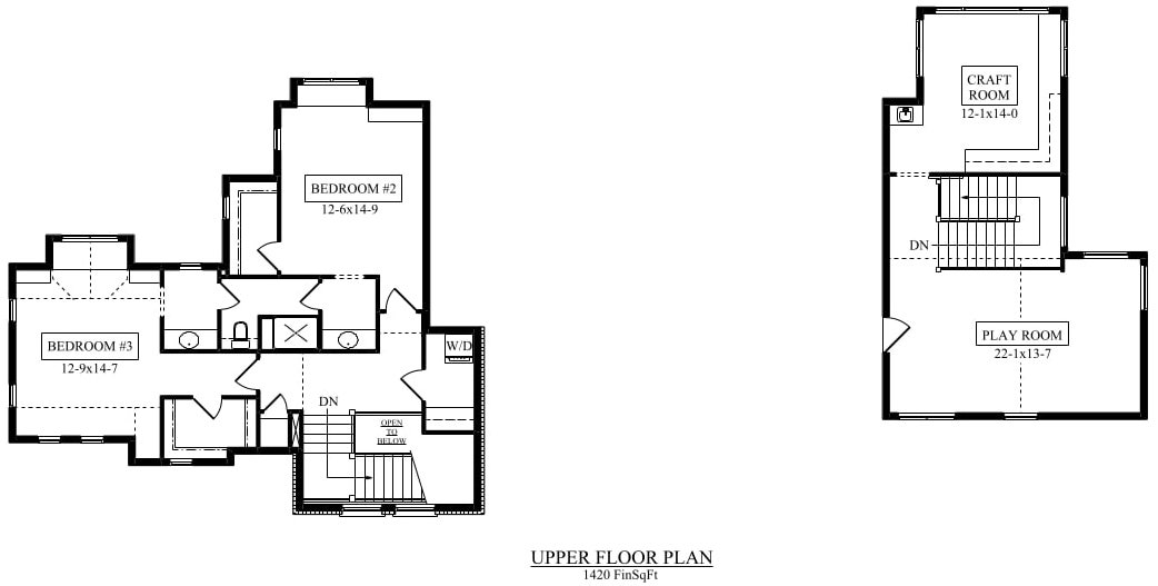 Upper level home floor plan of Plan #161-1076 showing secondary bedrooms on second story