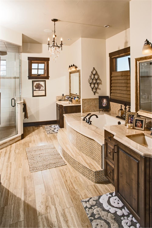 Bathroom in House Plan #161-1076 with wood-look tile floor