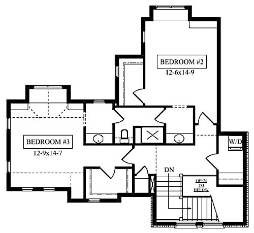 Upper floor layout of plan #161-1076 showing Jack-and-Jill bathroom