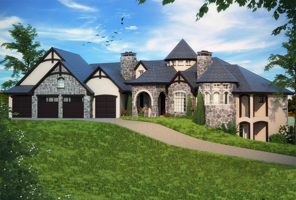 Luxury Tudor style home with stone and stucco facade