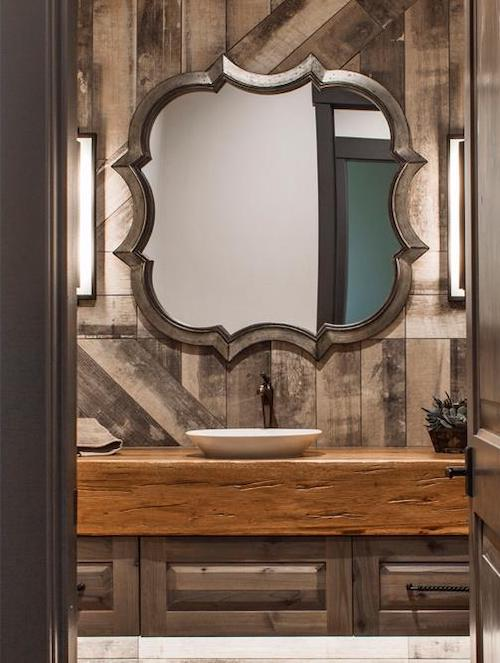 Bathroom with vertically oriented dark natural wood backsplash