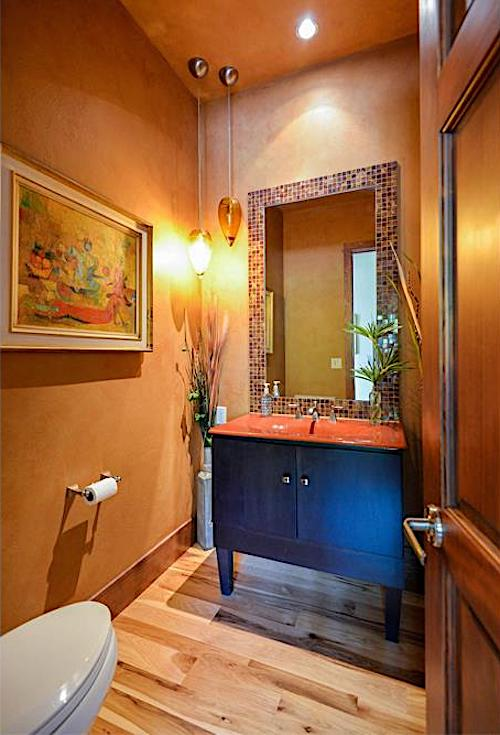 Ceiling in bathroom painted the same decorative-paint-treatment color as the walls