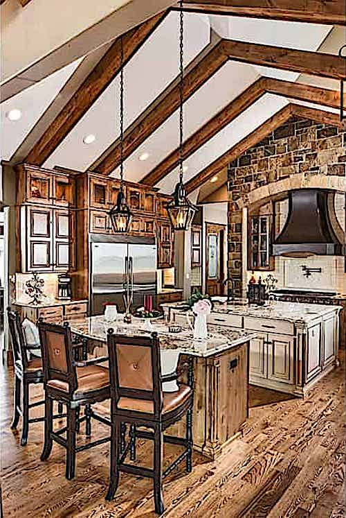 Rustic kitchen with vaulted ceiling and exposed beams