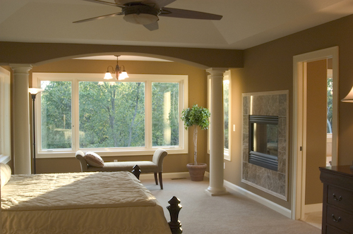 Reading area in master bedroom is great for relaxation before bed