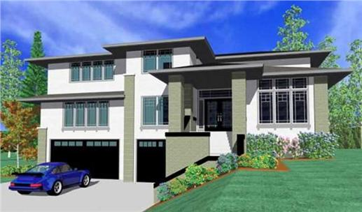 3-floor, 4-bedroom home is built on an uphill lot with a front view