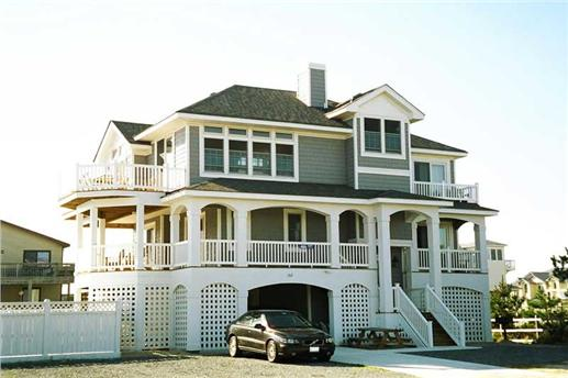 Amazing Beachfront home with garage under the home.