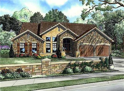 Two story Tuscan inspired house plan with three bedrooms and two baths.