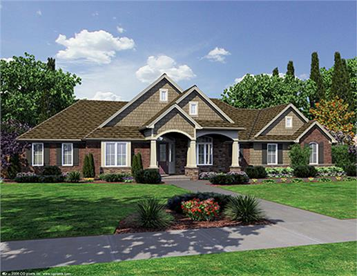 Transitional style Ranch home use of shakes, brick and stone to present a welcoming curb appeal.