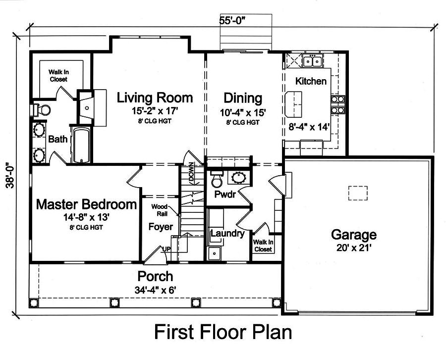 Main level floor plan for Cape Cod Plan #169-1146