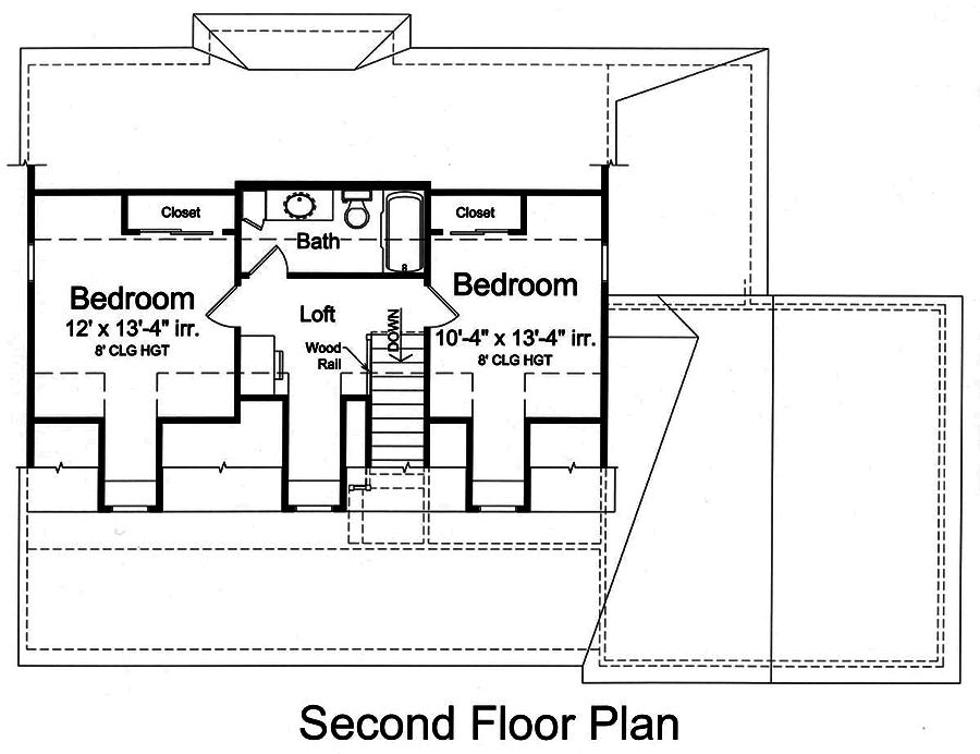 Upper level floor plan of Cape Cod Plan #169-1146