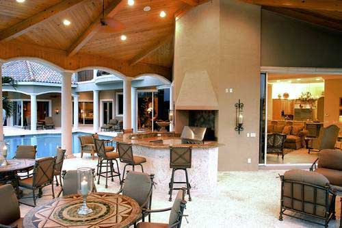 Large covered outdoor living area of a luxury home