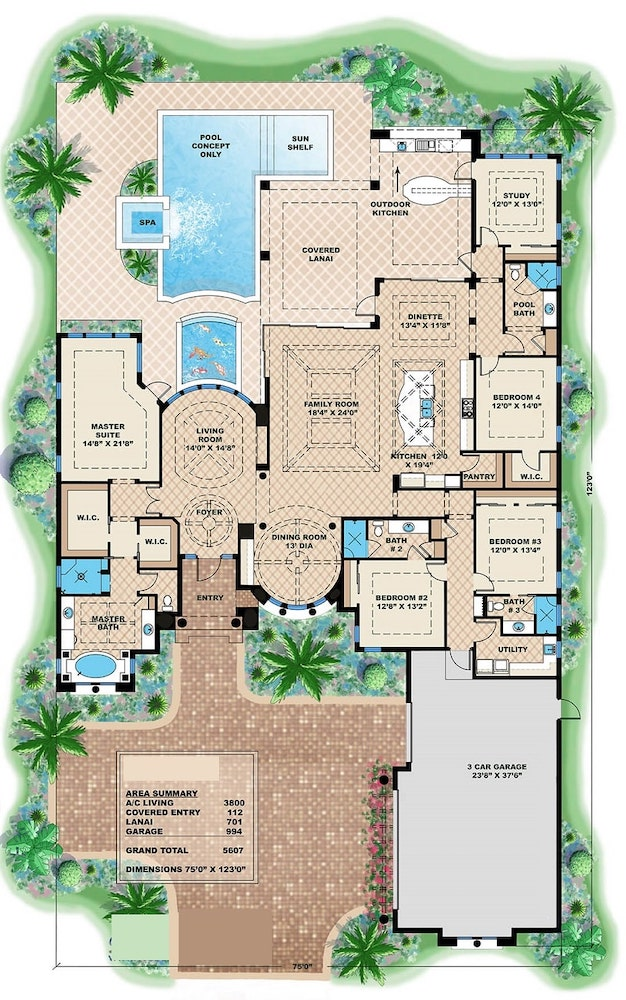 Home floor plan of Florida style house showing separate master and secondary bedroom areas