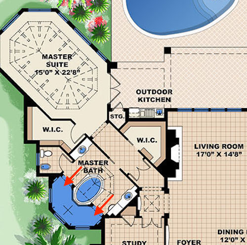 Floor plan of master suite in house plan #175-1090