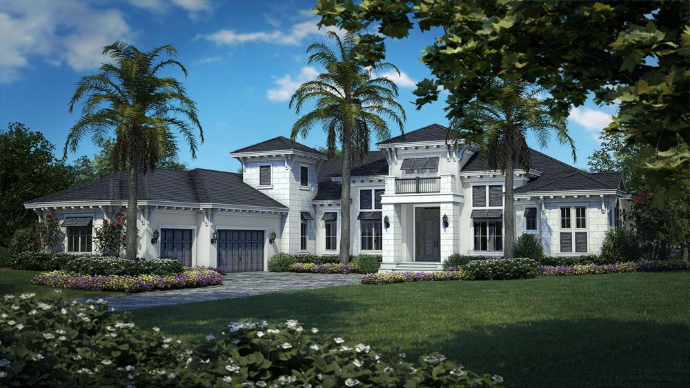 Coastal style home with white siding and side-entry garage
