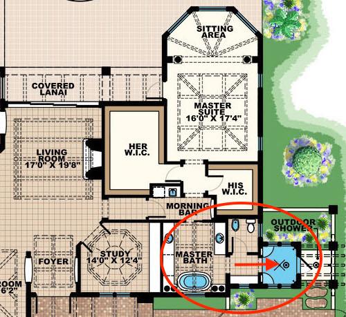 Floor plan of mater bath in house plan #175-1131