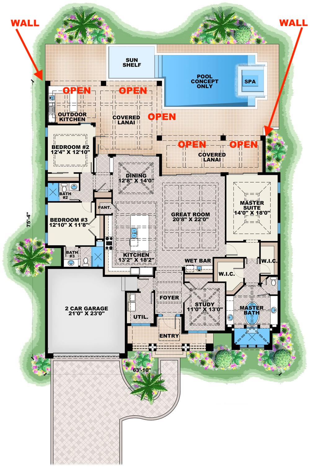 Floor plan of Contemporary California style home showing configuration of covered lanai