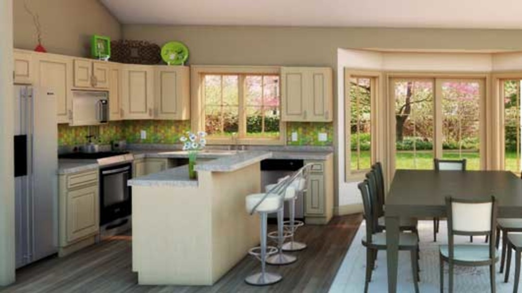 Open and airy kitchen this 1412 square foot country ranch home.