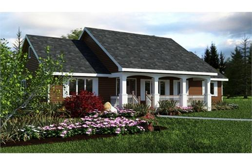 This is a colored rendering of small house plans # 2242