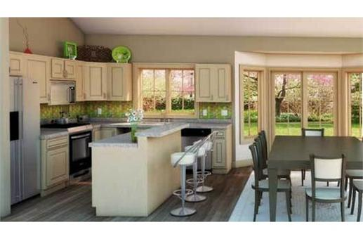 Interior image of open concept kitchen in this country house plan