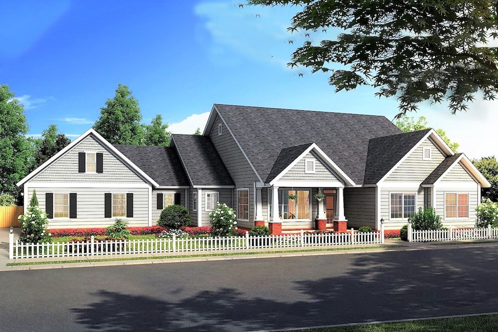 Cottage style house plan #178-1376 with gray siding