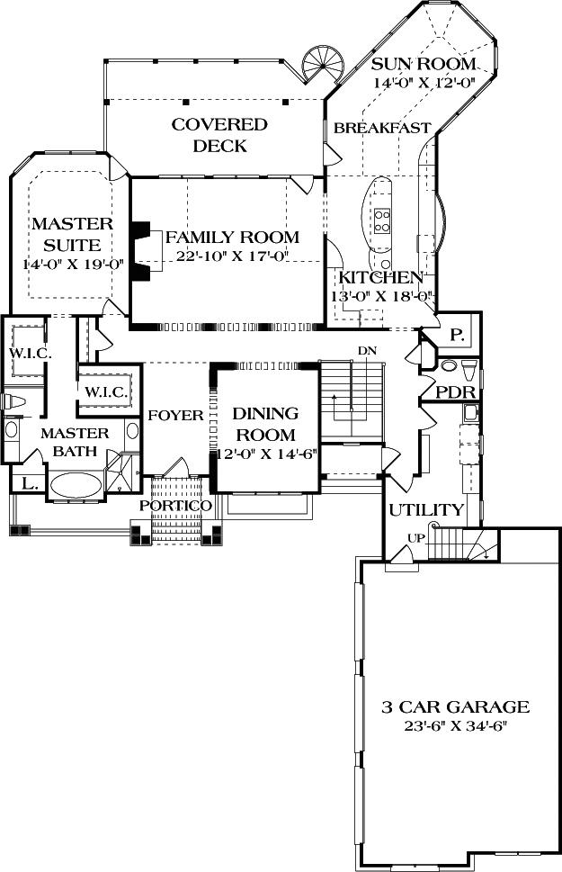 Main level layout of Plan #180-1020