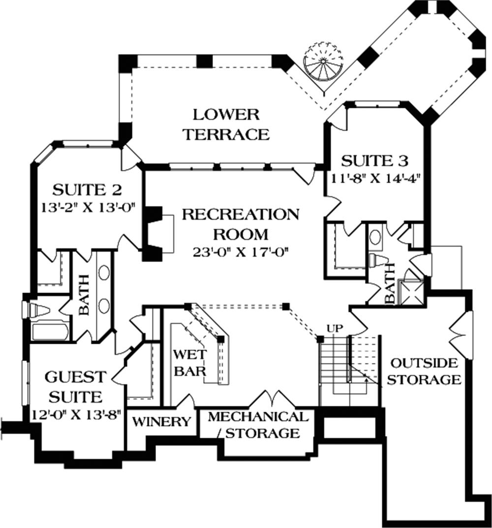 upper level layout of Plan #180-1020