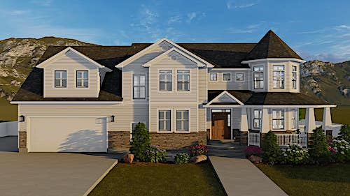 Traditional style home with beige siding stone accents, and a 2-story turret