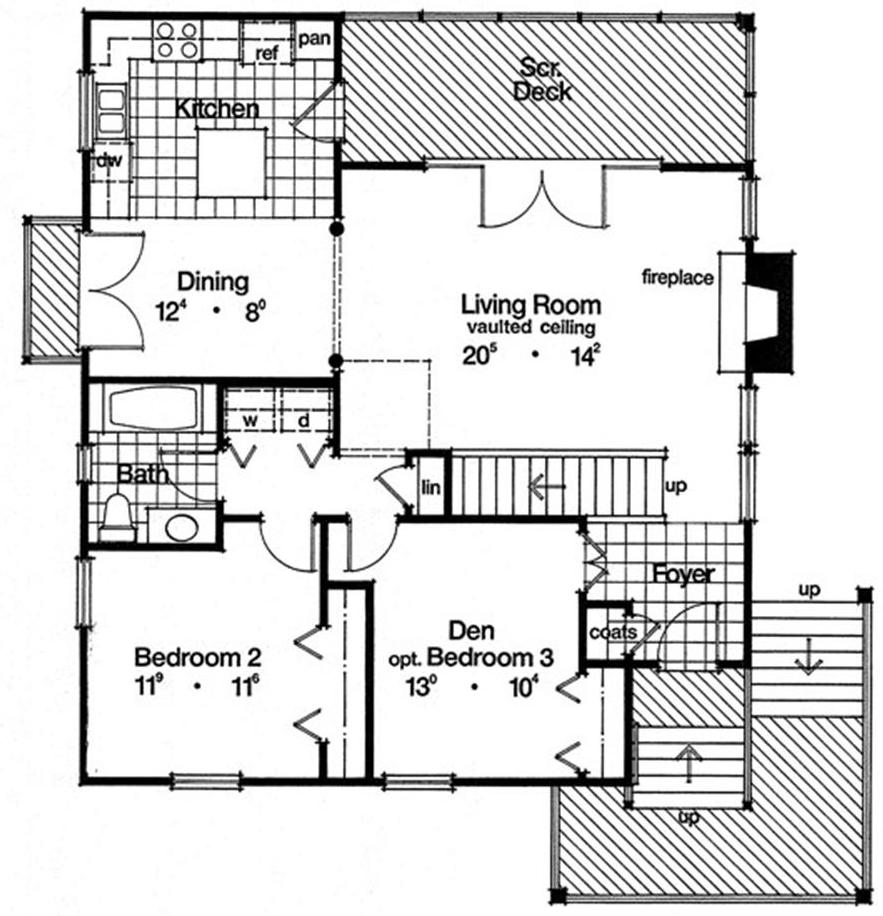 Floor plan of bungalow style home plan #190-1001