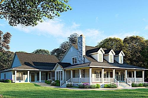 Wraparound porch on a classic farmhouse style home