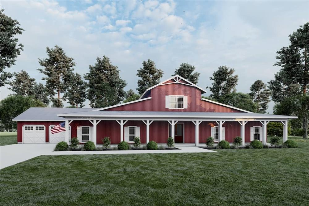 Large red barndominium with full-width covered front porch and attached 2-car garage