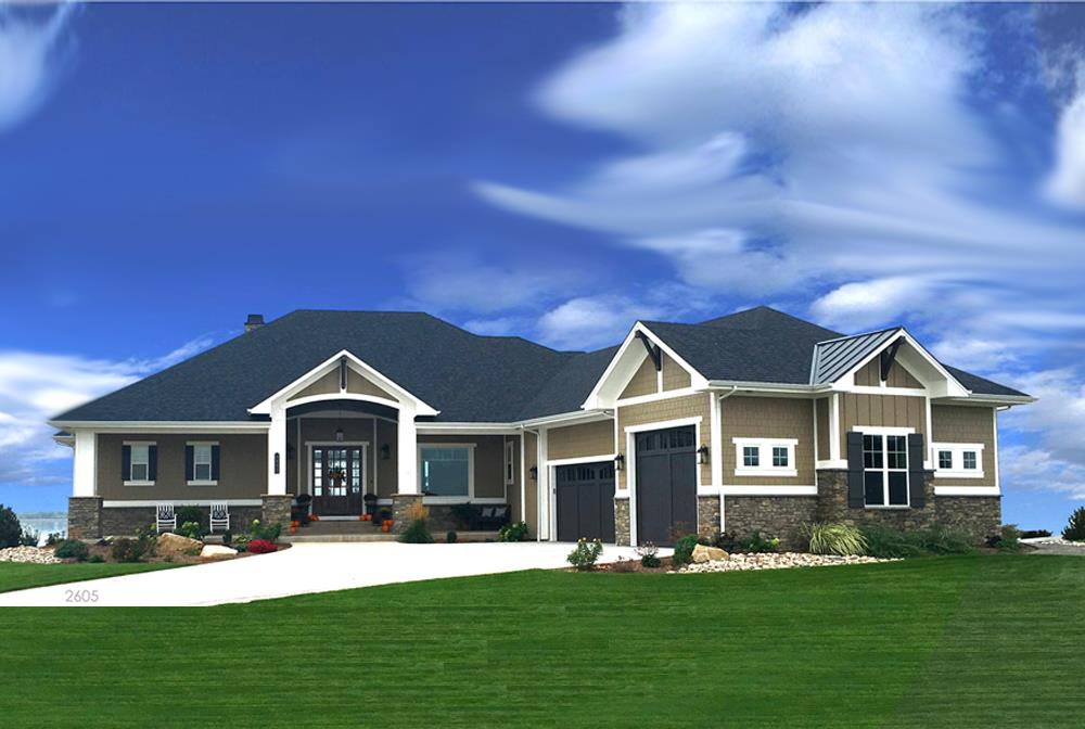 Beige Transitional Ranch style home with white trim and stone accents