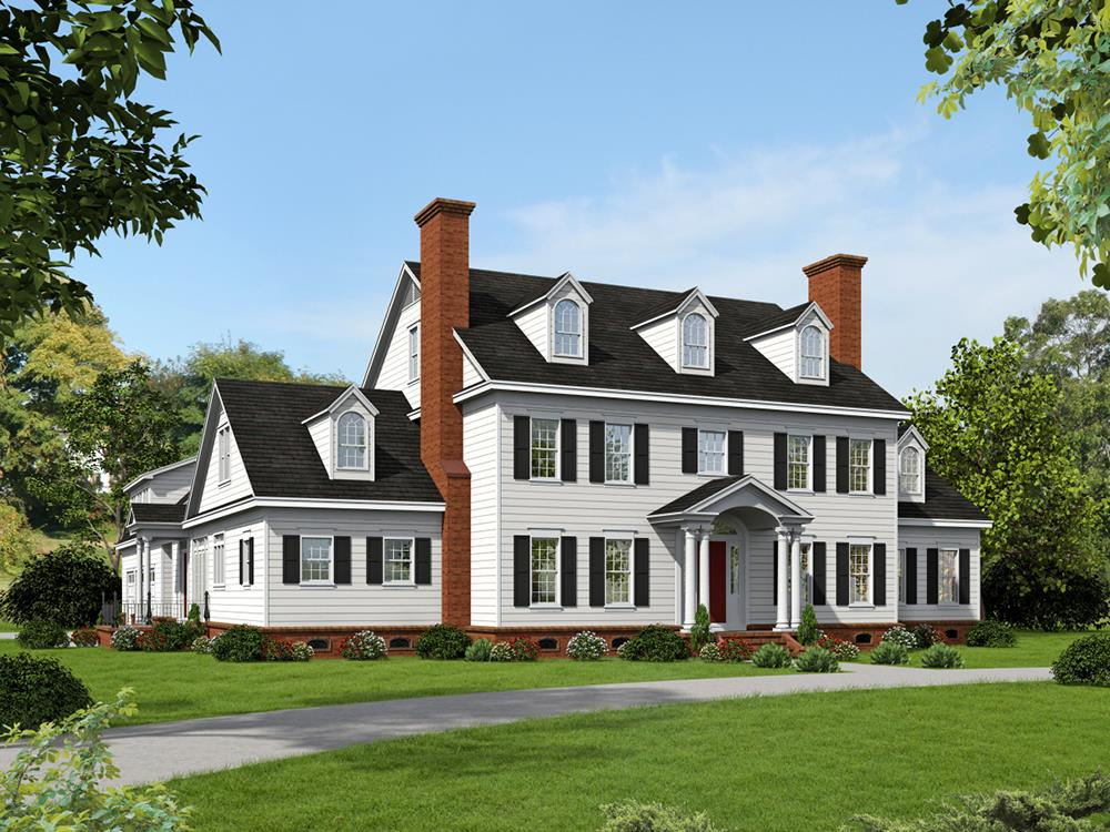 """While Georgian style home with front porch and left side entrance called """"friend's entry"""""""