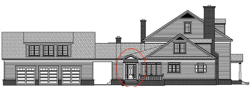 Left side elevation of Georgian style home showing friend's entry