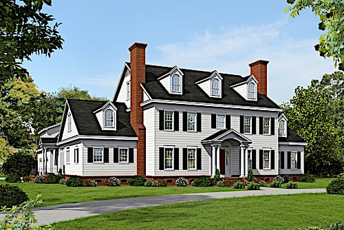 Delightful white Colonial with landscaped front yard and window shutters
