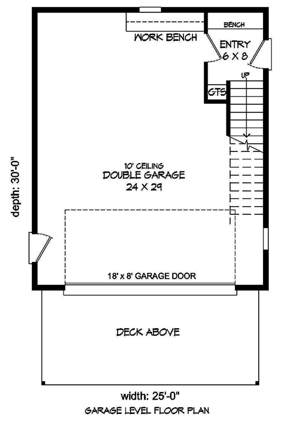 Lower-level layout of garage plan #196-1049