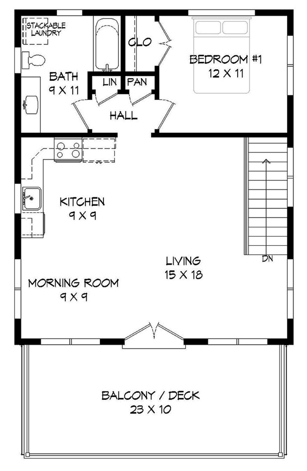 Upper-level floor plan of garage with apartment plan #196-1049