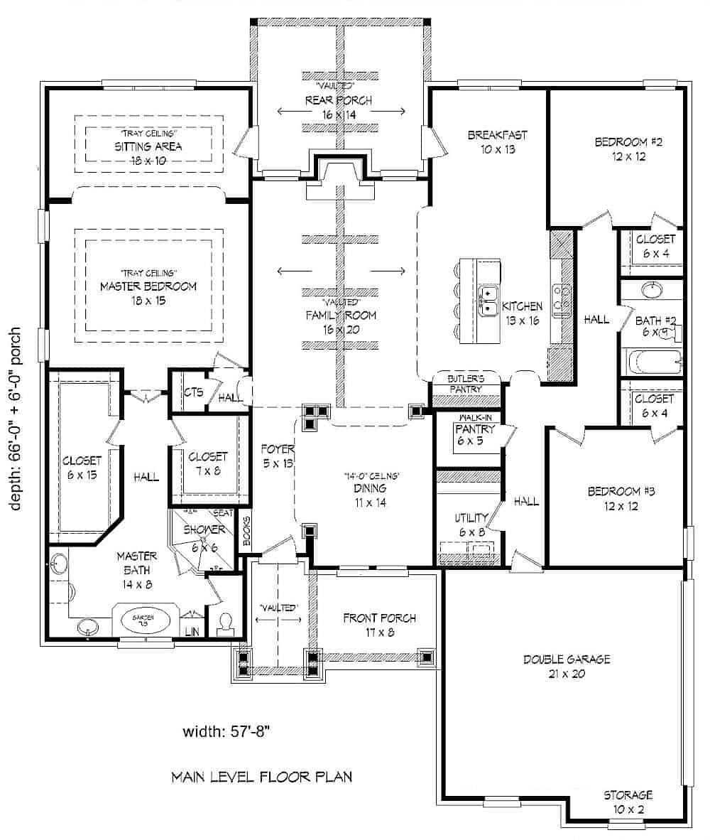 Floor plan of Traditional style home - Plan #196-1074