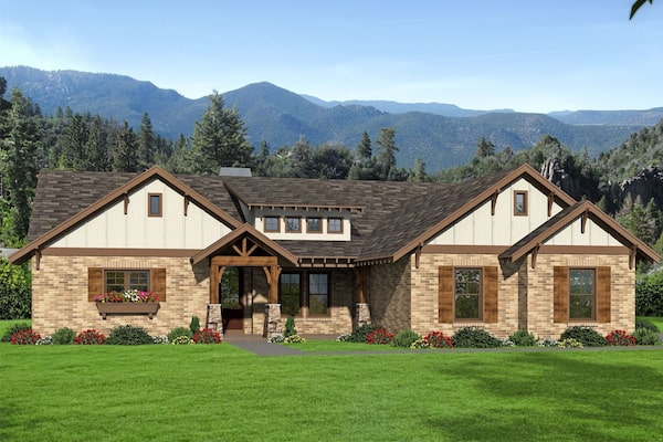 Traditional style home with brick-and-wood siding and rustic accents
