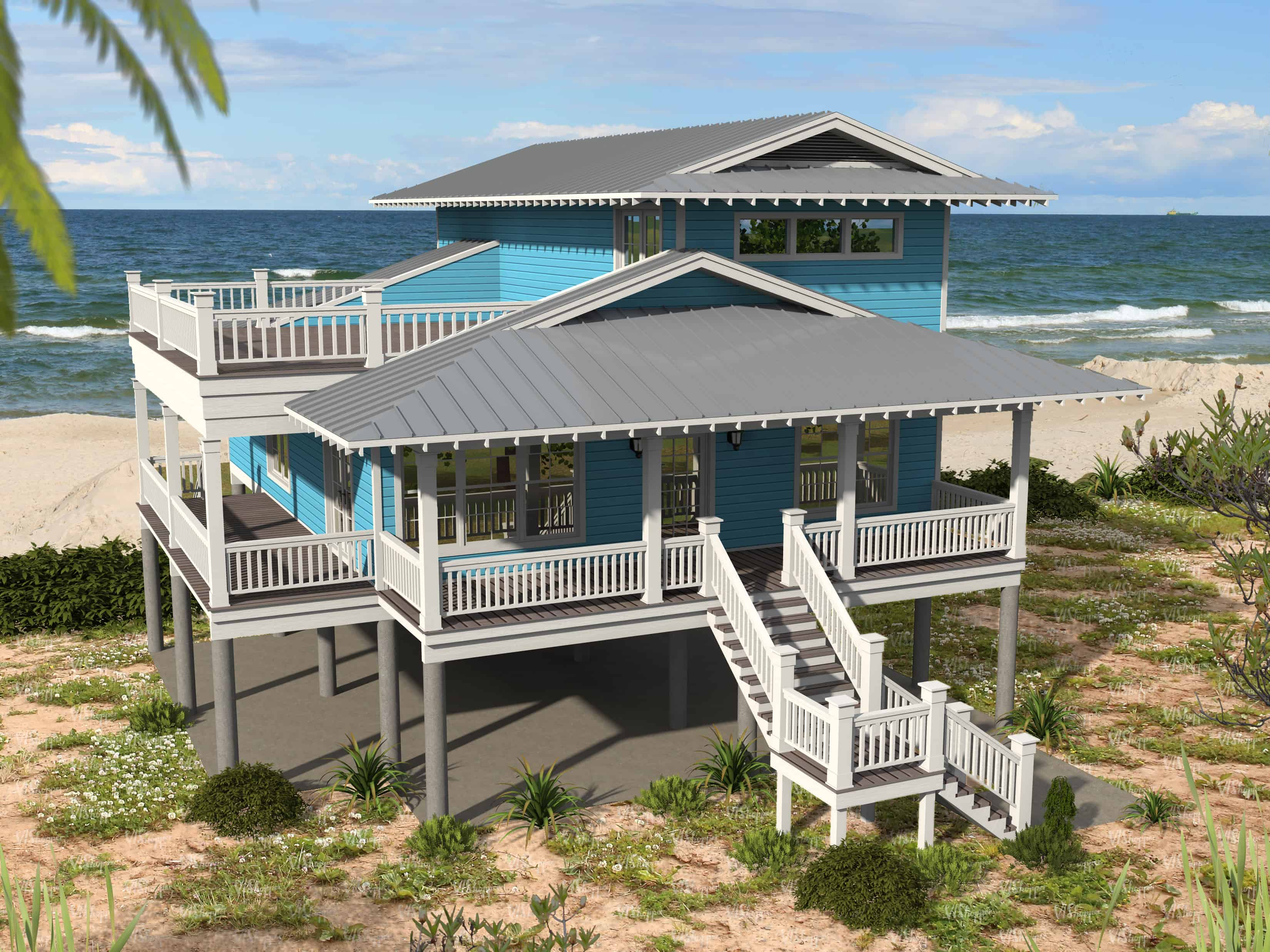 Beachfront home with raised pier foundation and roof deck