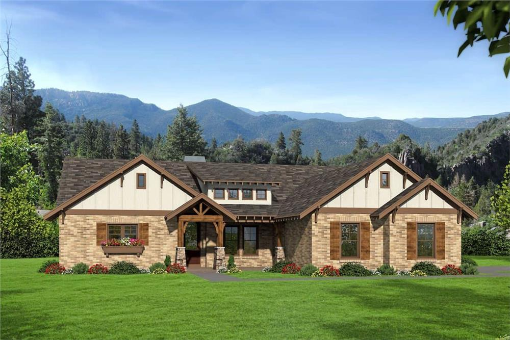 3-bedroom, 2.5-bath rustic style Ranch home with earth-tone brick siding