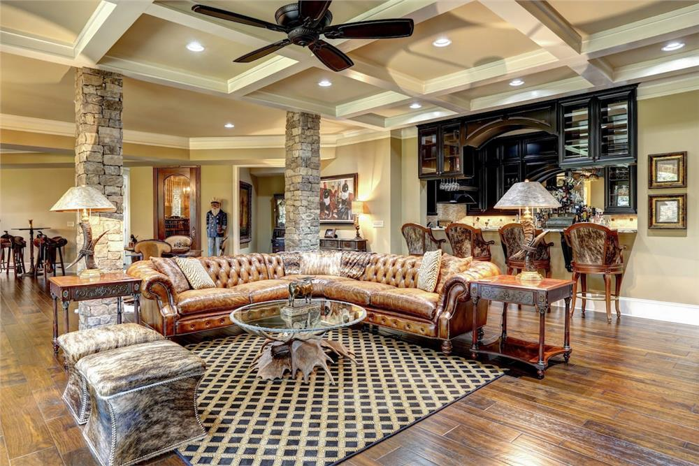 Light-colored coffer ceiling in Great Room of a luxury European style home