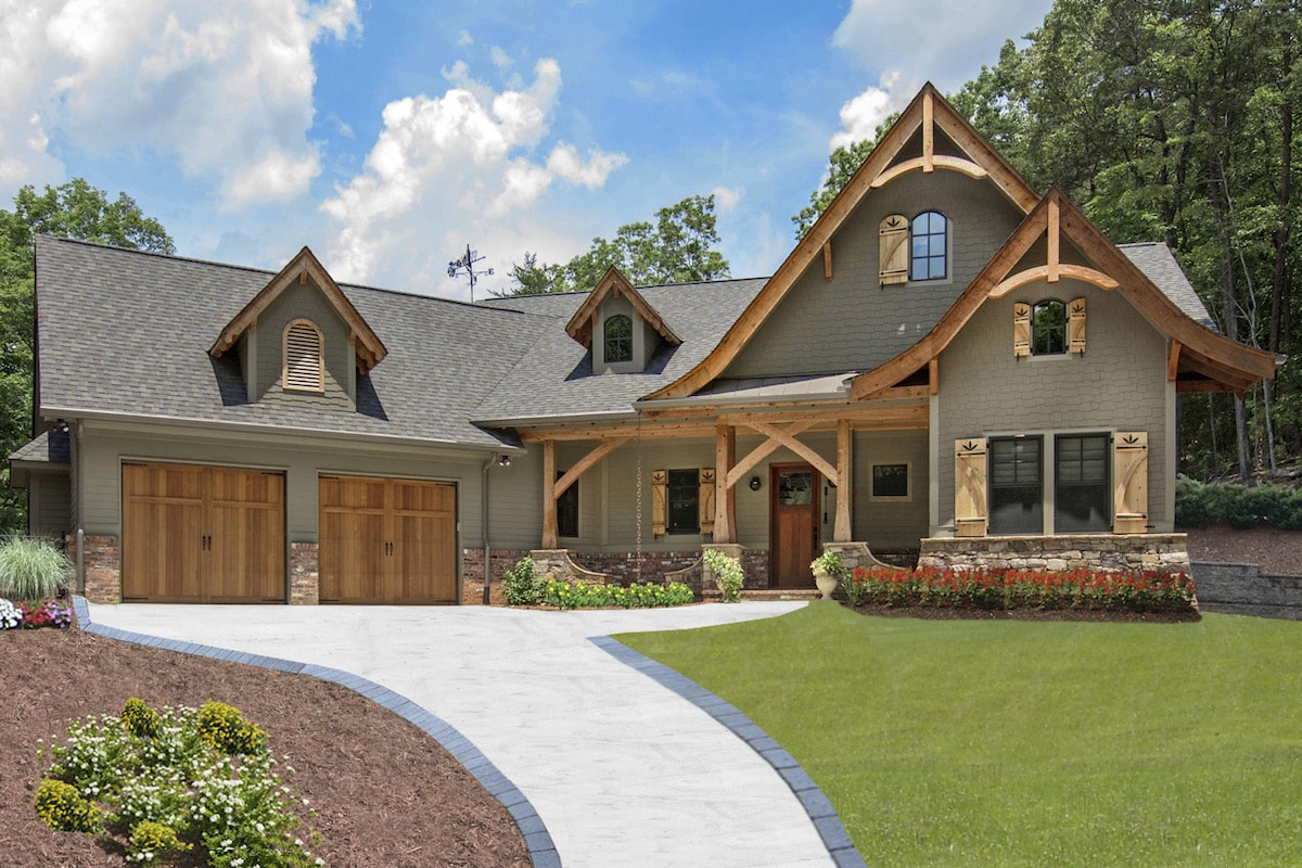 Charming rustic home natural wood accents and shingle and clapboard siding