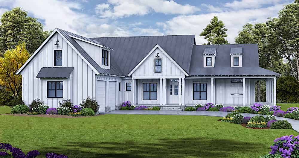 Transitional Farmhouse style home with white vertical siding and metal standing-seam roofing