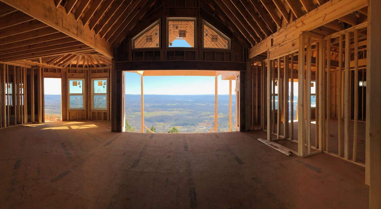 Upstairs of a luxury home under construction