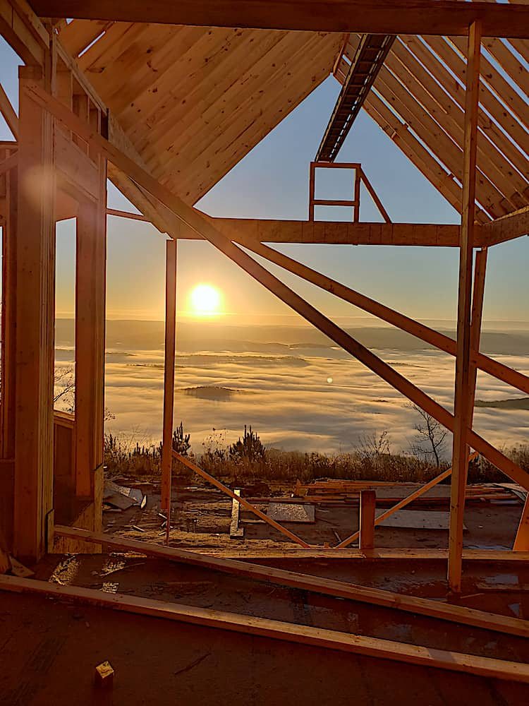 House in the process of being built at sunrise