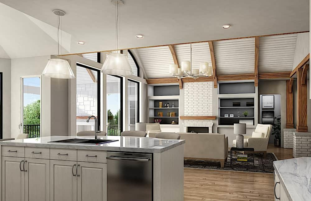 Exposed-beam-and-bead-board ceiling in Great Room adjacent to kitchen